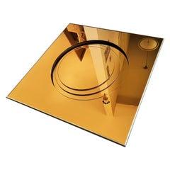 Midcentury Bronze Glass Mirror Style Fontana Arte, Italy 1960