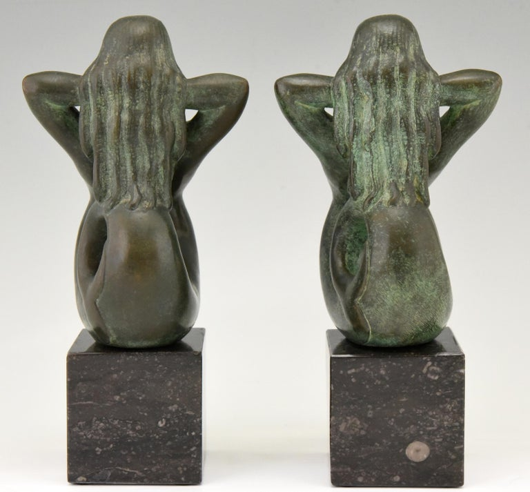 Art Deco Midcentury Bronze Mermaid Bookends Rene Cliquet, 1970