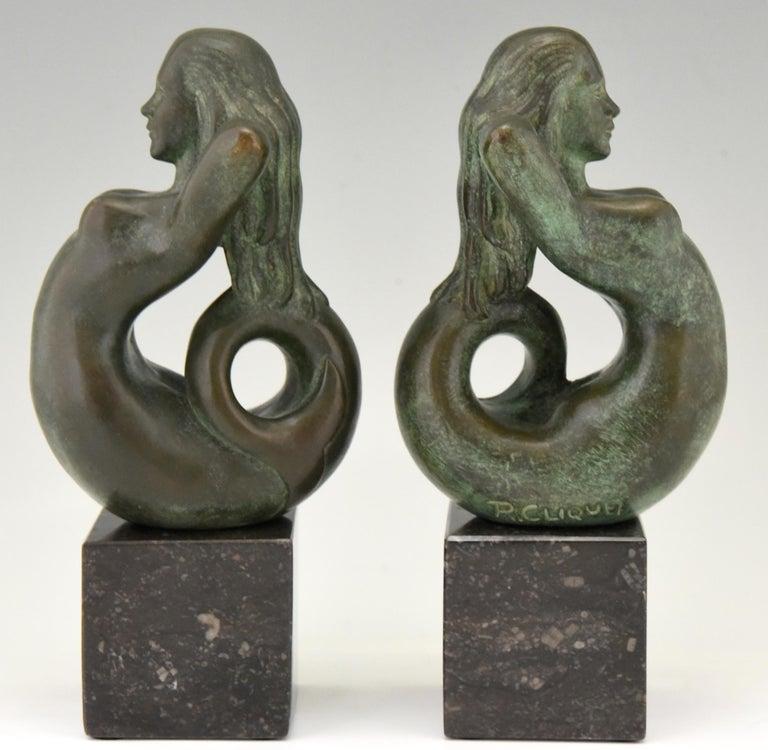 Belgian Midcentury Bronze Mermaid Bookends Rene Cliquet, 1970