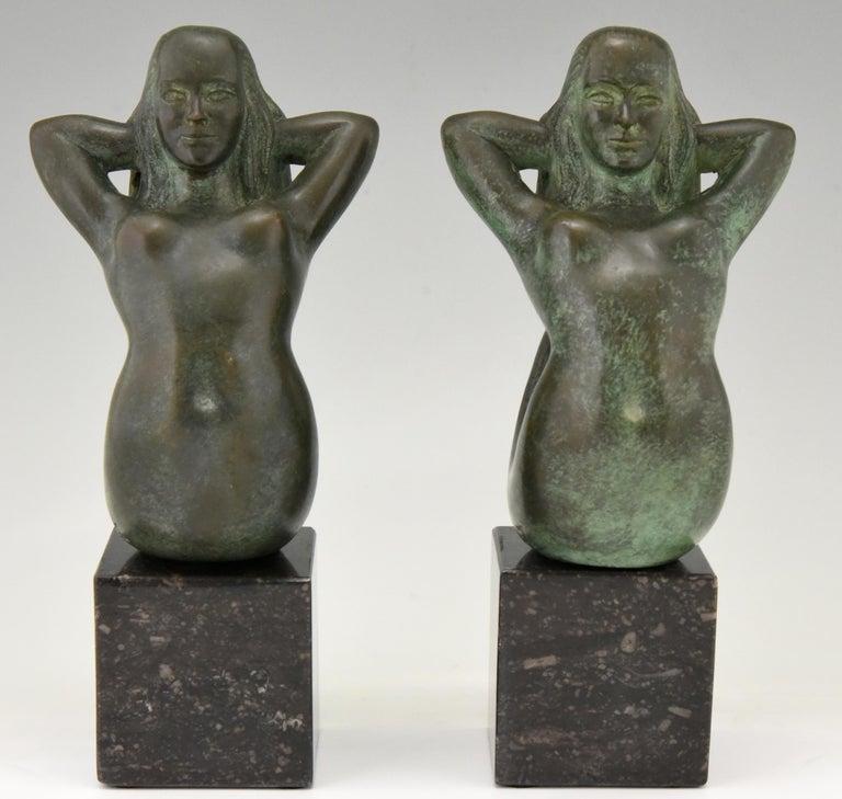 Patinated Midcentury Bronze Mermaid Bookends Rene Cliquet, 1970