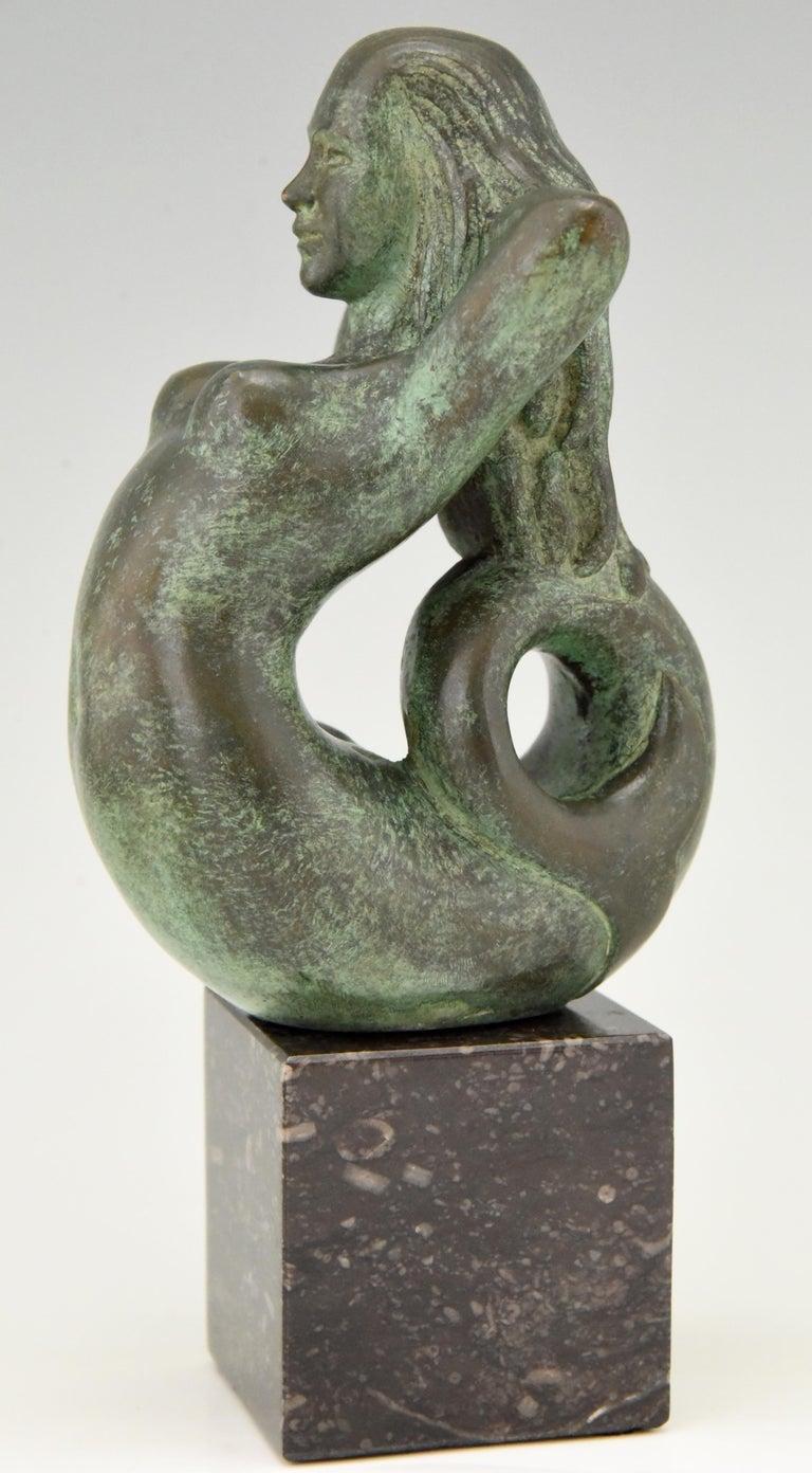 20th Century Midcentury Bronze Mermaid Bookends Rene Cliquet, 1970
