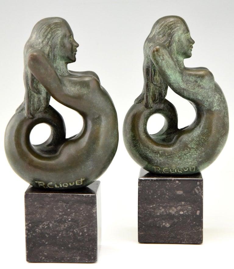 Midcentury Bronze Mermaid Bookends Rene Cliquet, 1970 1
