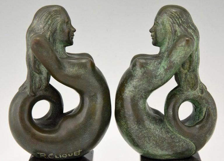 Midcentury Bronze Mermaid Bookends Rene Cliquet, 1970 2