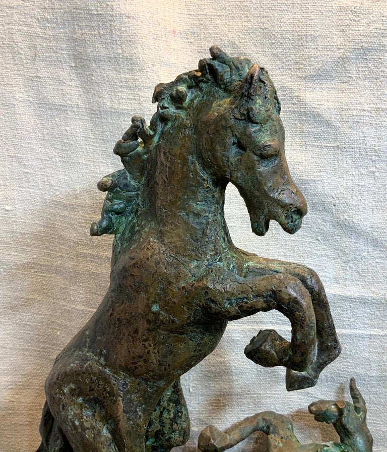 Midcentury Bronze Mustang Horse Sculpture In Good Condition For Sale In Delray Beach, FL