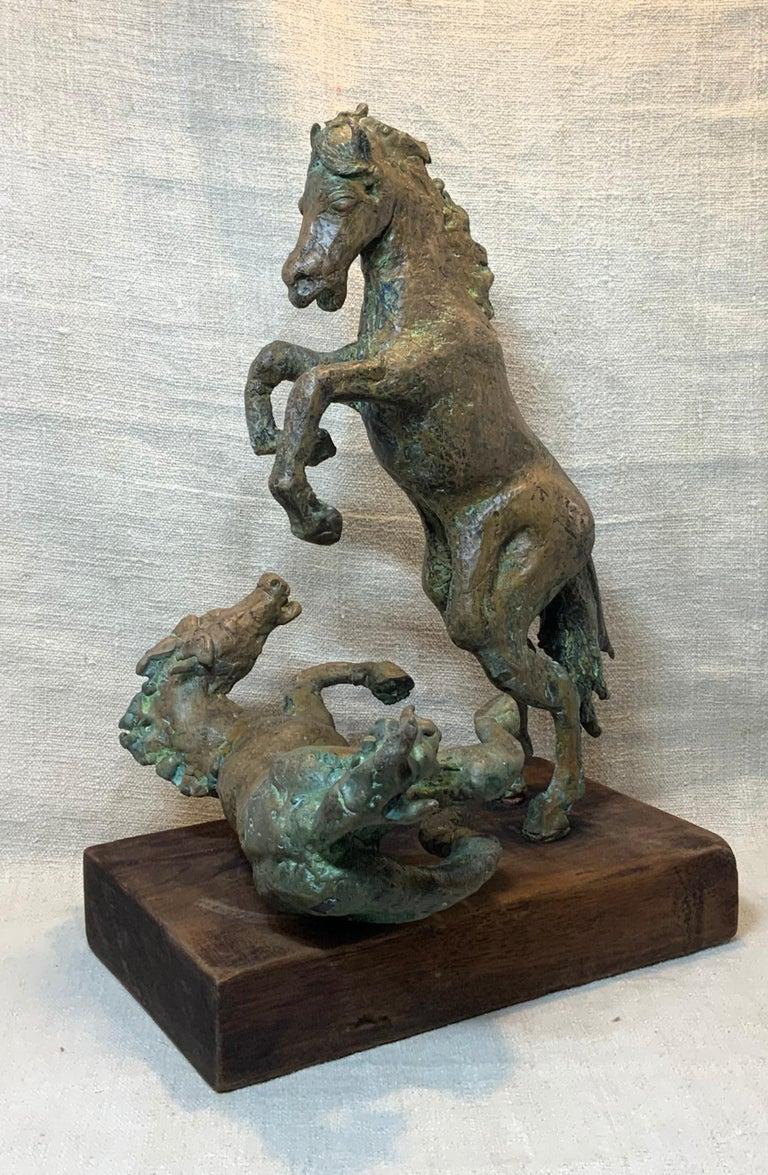 Midcentury Bronze Mustang Horse Sculpture For Sale 3