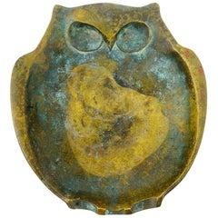 Midcentury Bronze Owl Incense Burner Vessel (Japan)