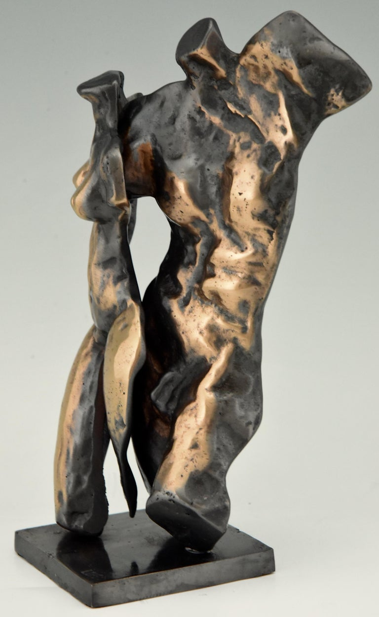 Mid-Century Modern Midcentury Bronze Sculpture Male and Female Torso Yves Lohé, 1970 For Sale