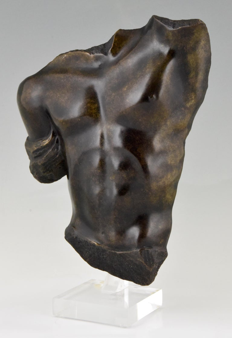 Mid-Century Modern Midcentury Bronze Sculpture of a Male Torso Numbered Bronze D'art For Sale