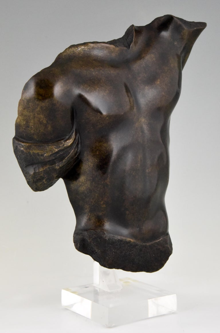 20th Century Midcentury Bronze Sculpture of a Male Torso Numbered Bronze D'art For Sale