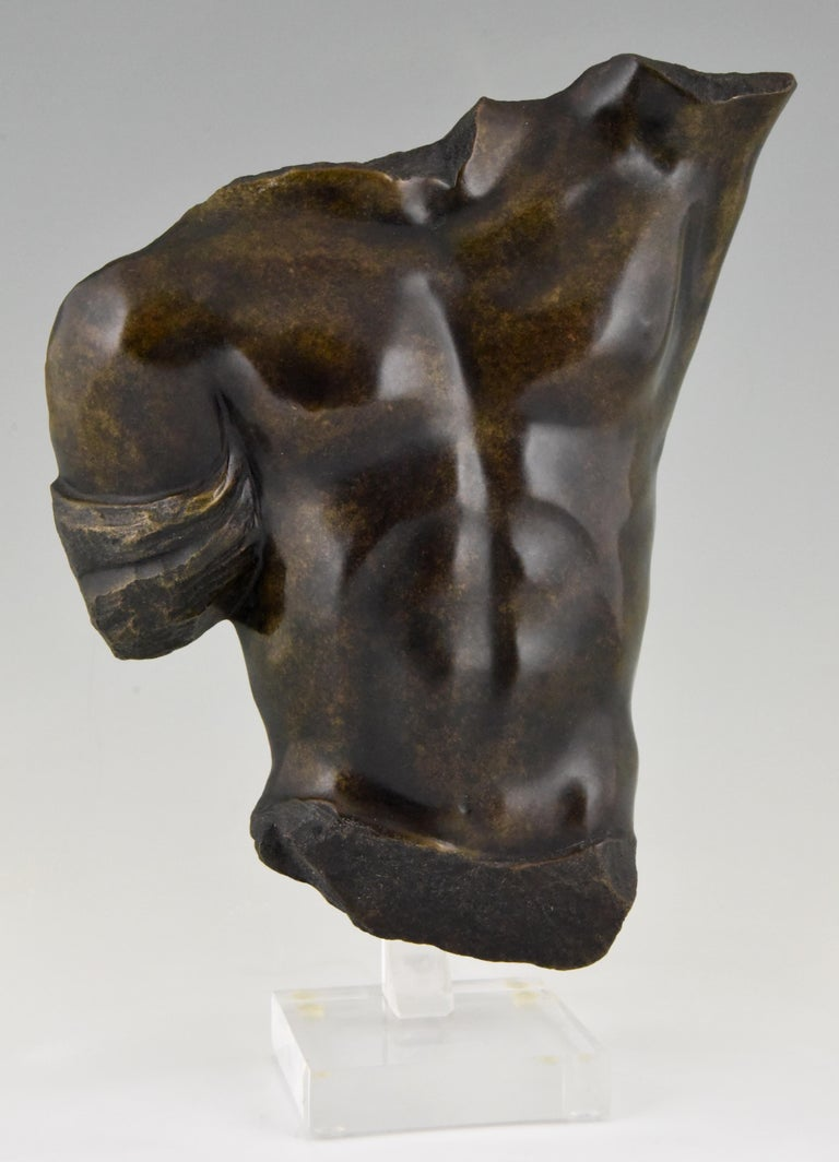 Midcentury Bronze Sculpture of a Male Torso Numbered Bronze D'art For Sale 1