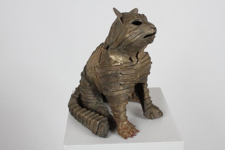 Mid-Century Bronze Welded Brutalist Mummy Cat Sculpture, Style of Jane Ackroyd For Sale 7