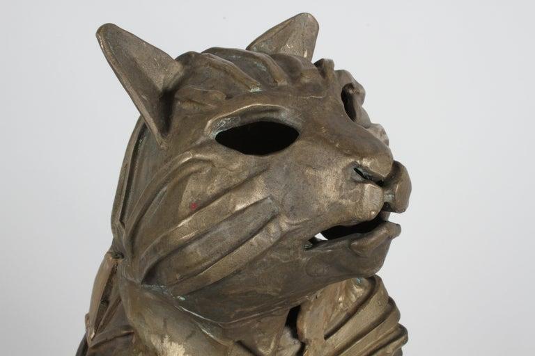 Mid-Century Bronze Welded Brutalist Mummy Cat Sculpture, Style of Jane Ackroyd For Sale 8