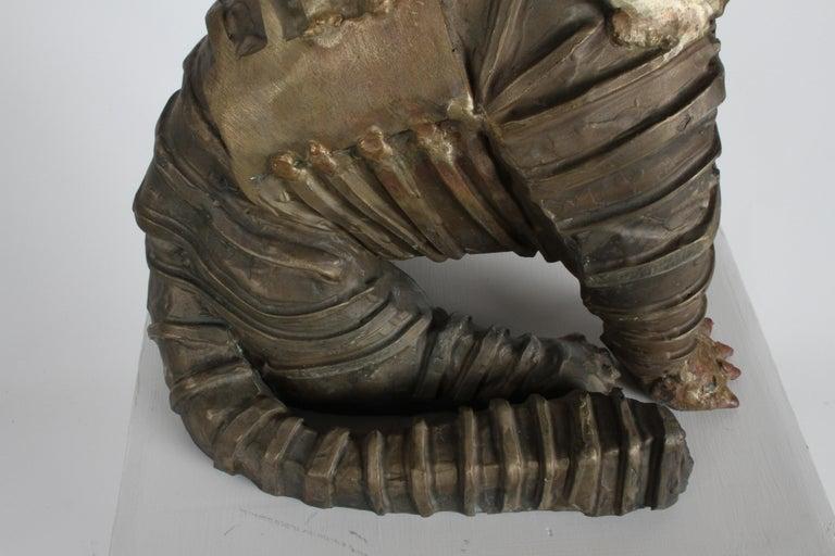 Mid-Century Bronze Welded Brutalist Mummy Cat Sculpture, Style of Jane Ackroyd For Sale 10