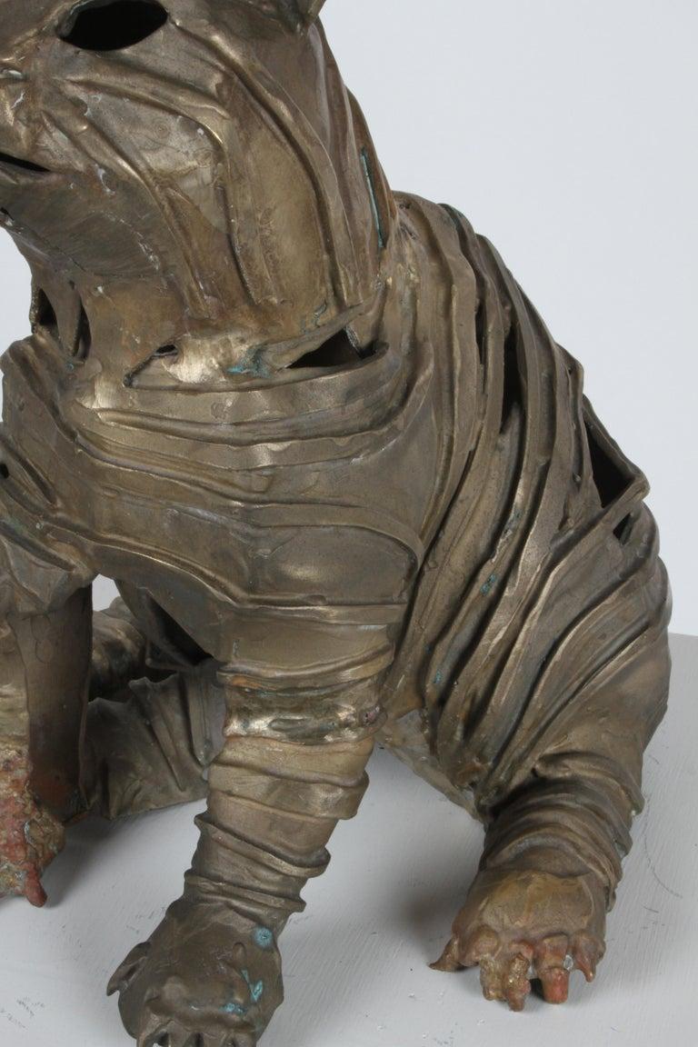 Mid-Century Bronze Welded Brutalist Mummy Cat Sculpture, Style of Jane Ackroyd For Sale 11