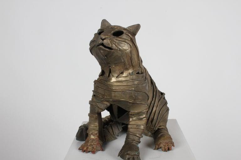 Mid-Century Bronze Welded Brutalist Mummy Cat Sculpture, Style of Jane Ackroyd For Sale 12