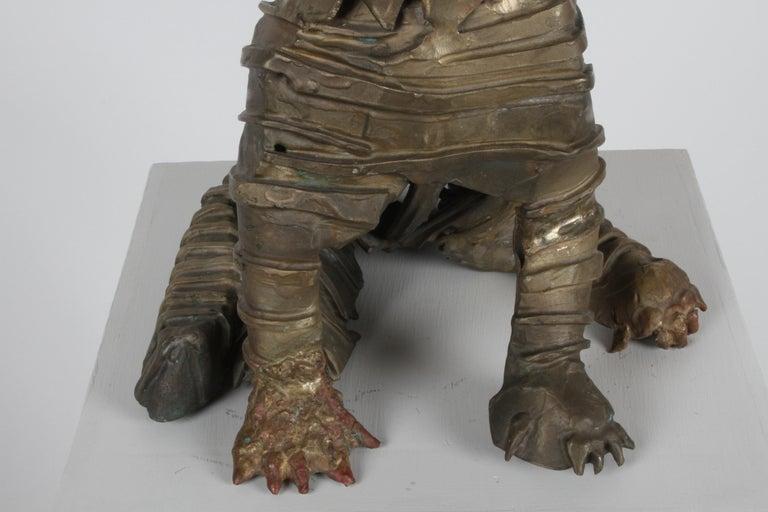 Mid-Century Bronze Welded Brutalist Mummy Cat Sculpture, Style of Jane Ackroyd For Sale 14