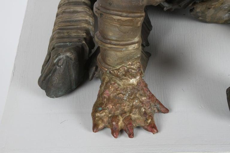 Mid-Century Modern Mid-Century Bronze Welded Brutalist Mummy Cat Sculpture, Style of Jane Ackroyd For Sale