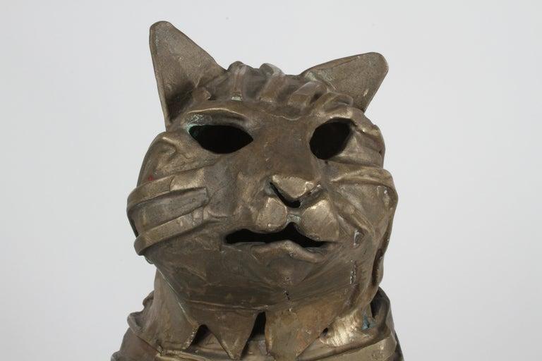 American Mid-Century Bronze Welded Brutalist Mummy Cat Sculpture, Style of Jane Ackroyd For Sale