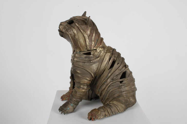 Mid-Century Bronze Welded Brutalist Mummy Cat Sculpture, Style of Jane Ackroyd In Good Condition For Sale In St. Louis, MO