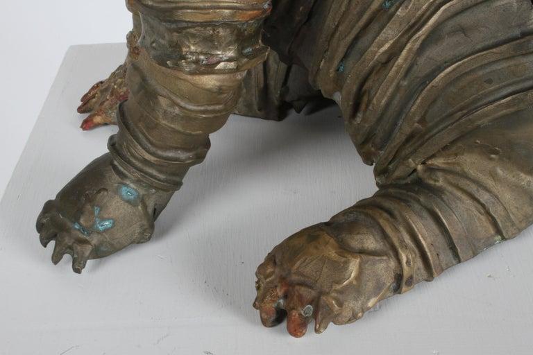 Mid-Century Bronze Welded Brutalist Mummy Cat Sculpture, Style of Jane Ackroyd For Sale 1