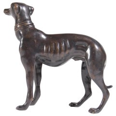 Midcentury Bronze Whippet or Greyhound Dog Sculpture