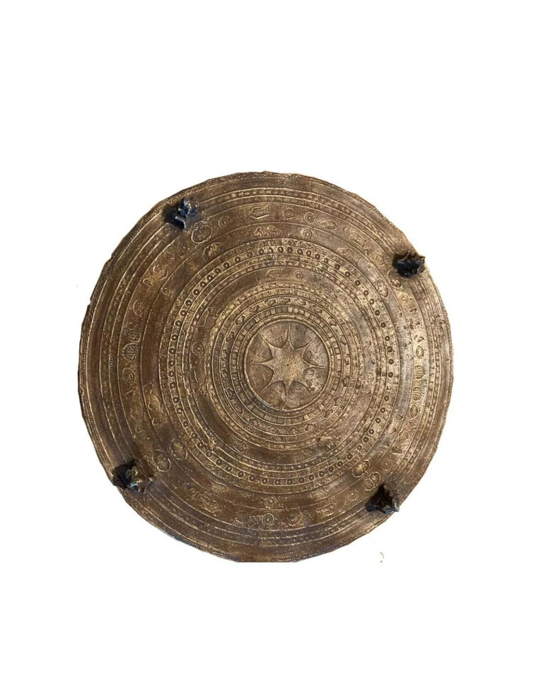 Bronze cast resin rain drum table by Sirmos Company, solid, made for indoor use. Sculptural beauty with gorgeous aged quality.
