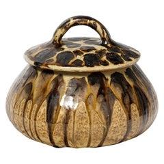 Mid Century Brown Abstract Ceramic Jewelry Box by Joseph Talbot 1930 La Borne