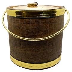 Mid Century Brown and Brass Ice Bucket