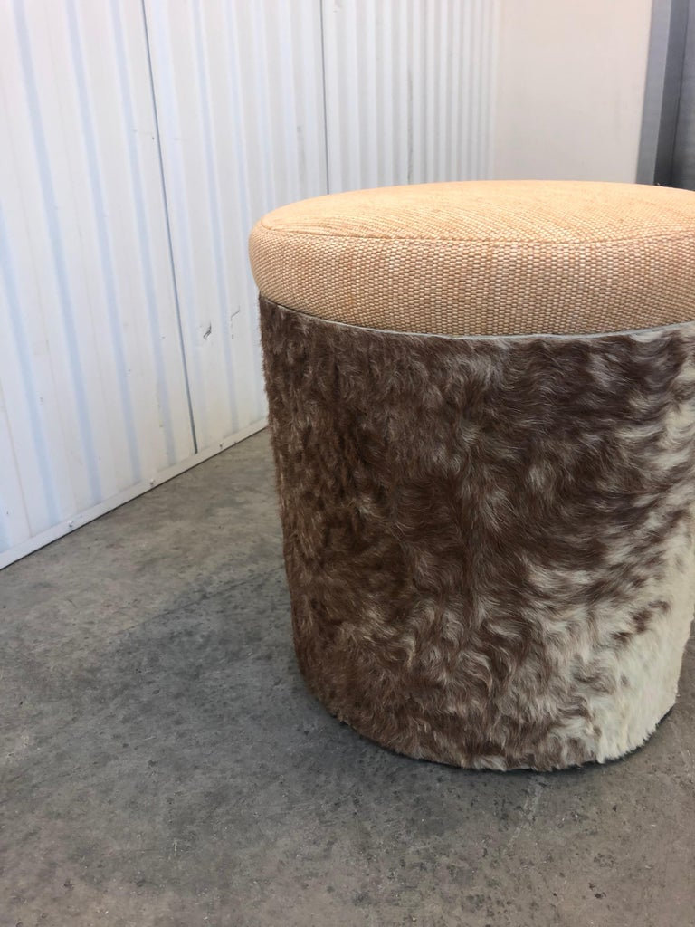 Mid-Century Modern Midcentury Brown and Tan Cowhide Round Stool with Round Seat Cushion For Sale