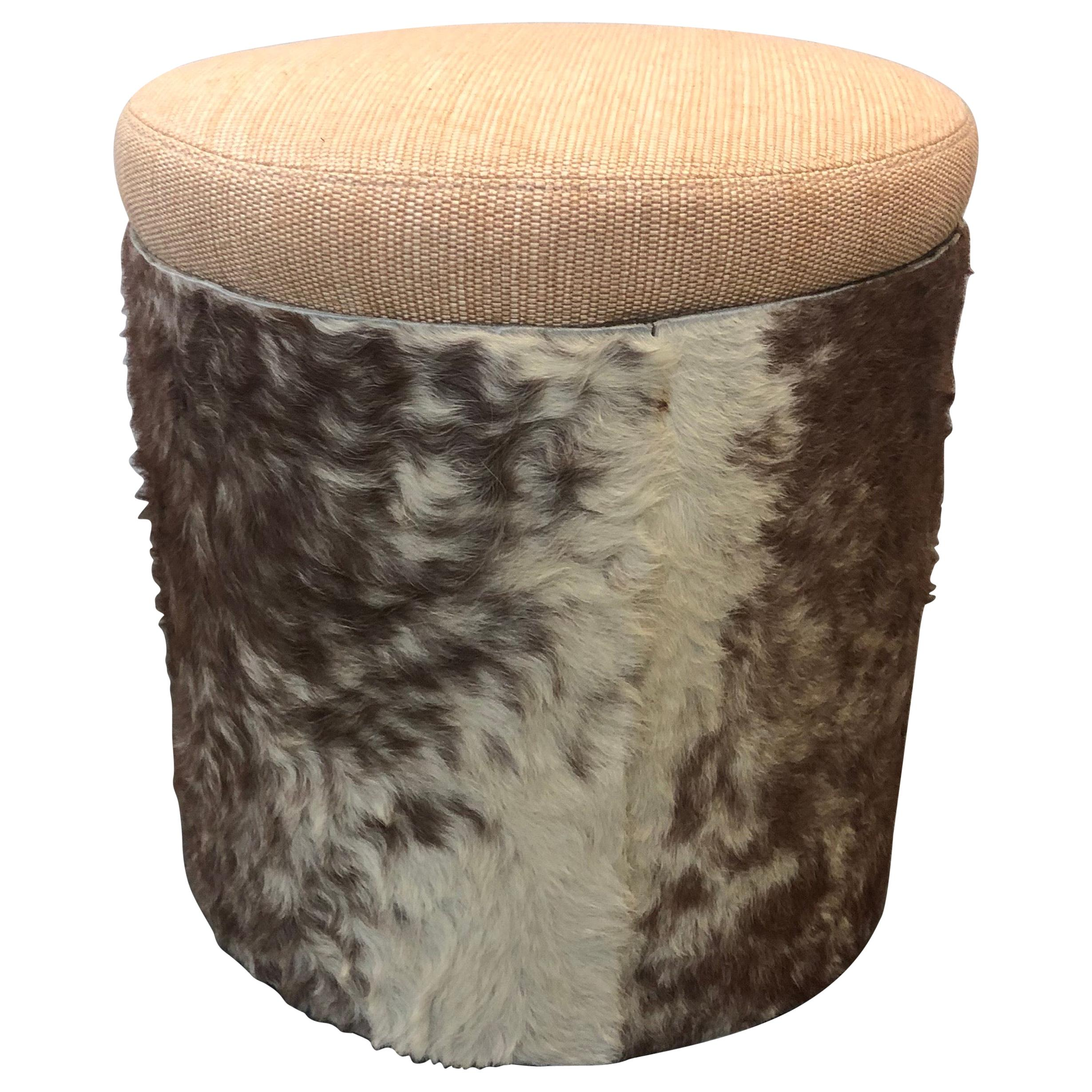 Midcentury Brown and Tan Cowhide Round Stool with Round Seat Cushion