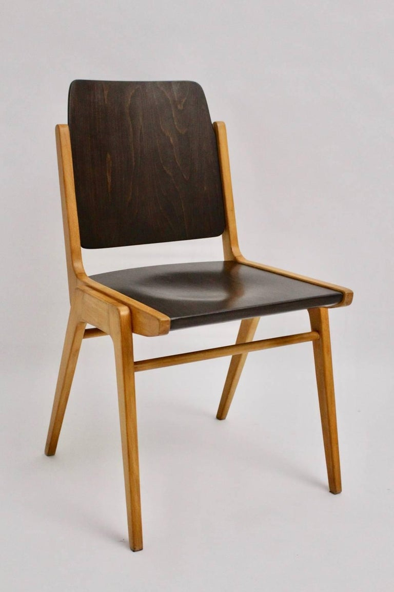 Midcentury Brown Beech Dining Room Chairs Franz Schuster Vienna 1959, Set of Six In Good Condition For Sale In Vienna, AT