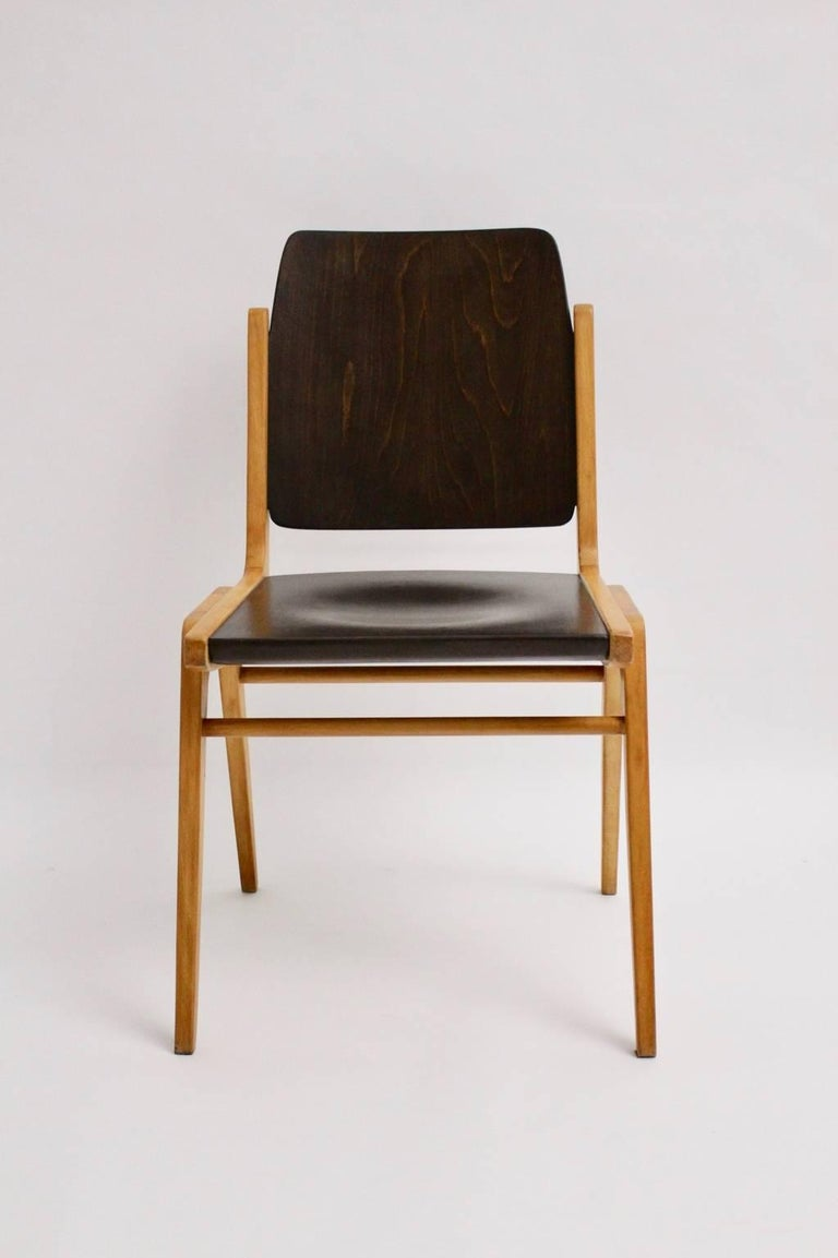 20th Century Midcentury Brown Beech Dining Room Chairs Franz Schuster Vienna 1959, Set of Six For Sale