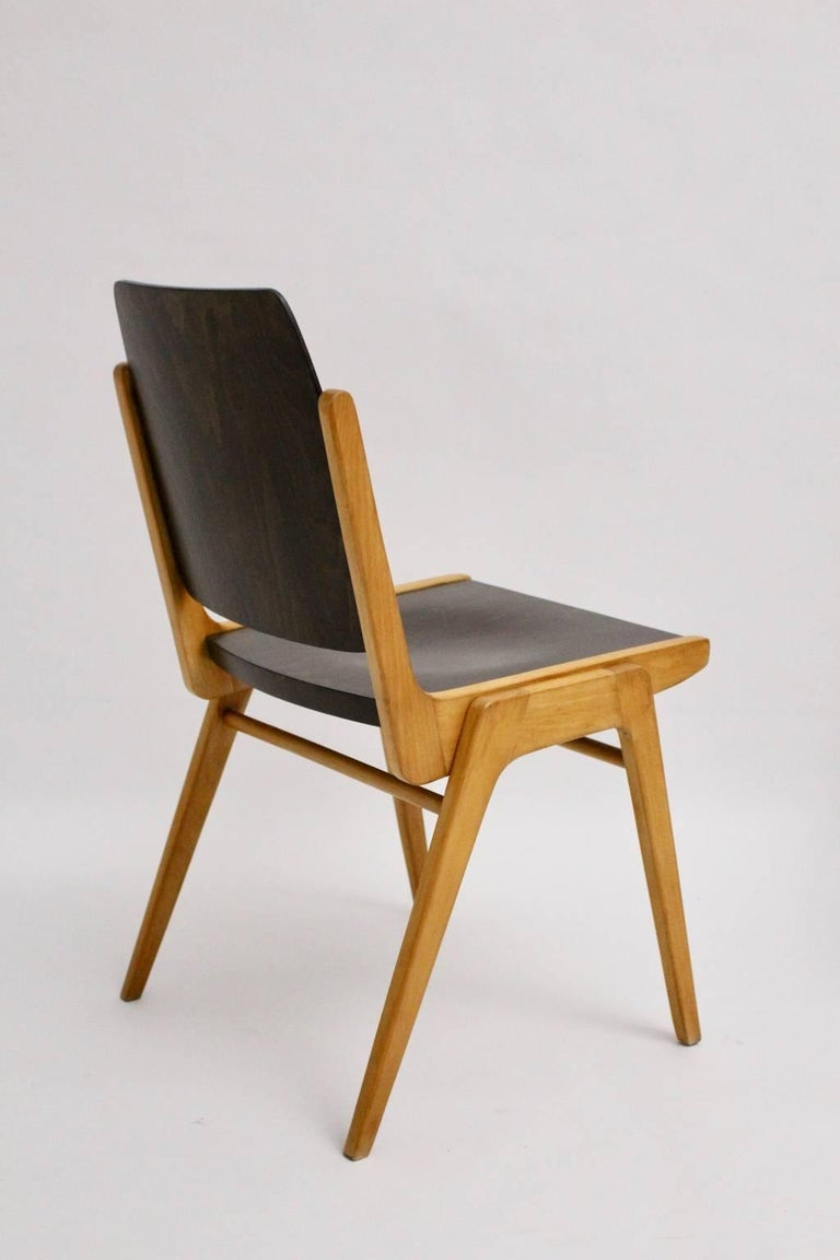 Midcentury Brown Beech Dining Room Chairs Franz Schuster Vienna 1959, Set of Six For Sale 1