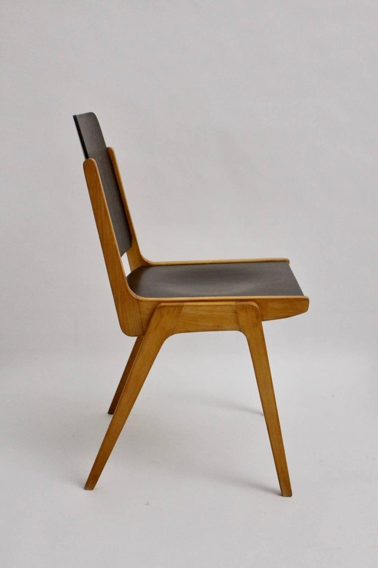 Midcentury Brown Beech Dining Room Chairs Franz Schuster Vienna 1959, Set of Six For Sale 2