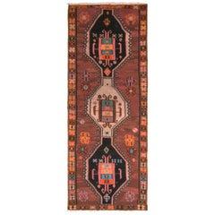 Midcentury Brown Black Kilim Vintage Tribal Flat-Weave Rug