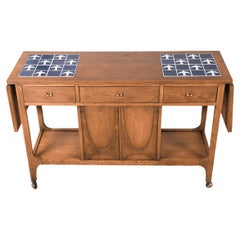 Mid Century Broyhill Brasilia Drop Leaf Tile Top Bar Cart Console Table
