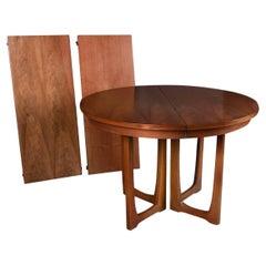 Mid Century Broyhill Brasilia Extendable Round Pedestal Base Dining Table