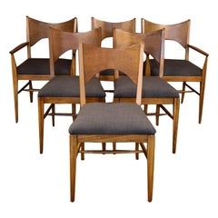Midcentury Broyhill Saga Walnut Paul McCobb Style Dining Chairs Six