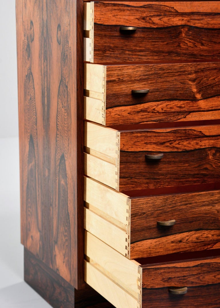 Midcentury Bruksbo of Norway Rosewood Side Cabinet with Drawers For Sale 3