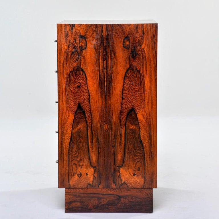 Veneer Midcentury Bruksbo of Norway Rosewood Side Cabinet with Drawers For Sale