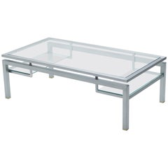 Mid-Century Brushed Steel Brass Coffee Table by Guy Lefevre for Maison Jansen 70