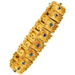 Mid-Century Brutalist 18 Karat Yellow Gold Sapphire Link Bracelet