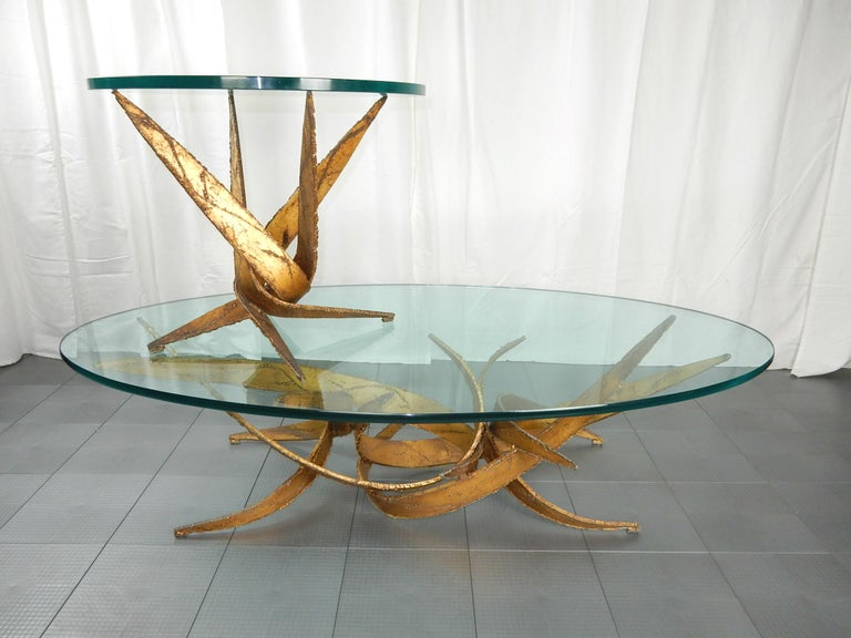 Metal Midcentury Brutalist Abstract Art Coffee and Side Table Set Silas Seandel For Sale