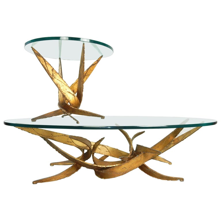 Midcentury Brutalist Abstract Art Coffee and Side Table Set Silas Seandel For Sale