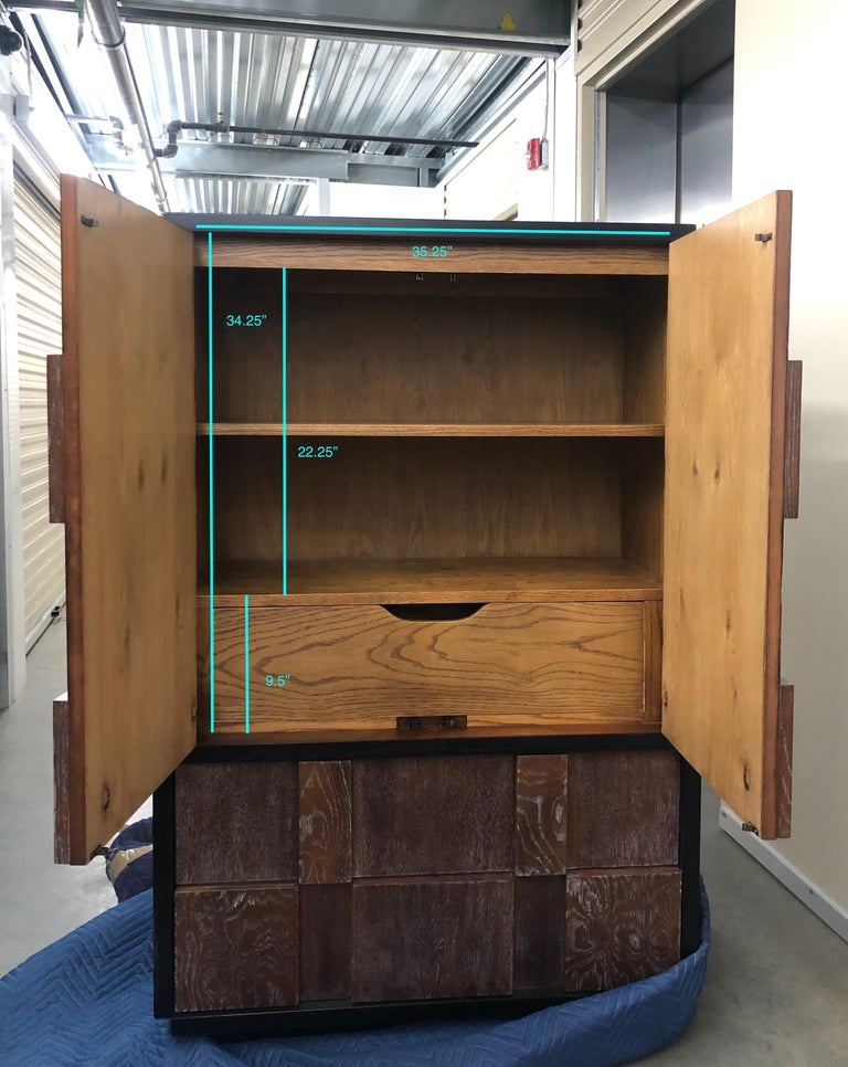 Cerused Mid-Century Brutalist Armoire by Lane For Sale