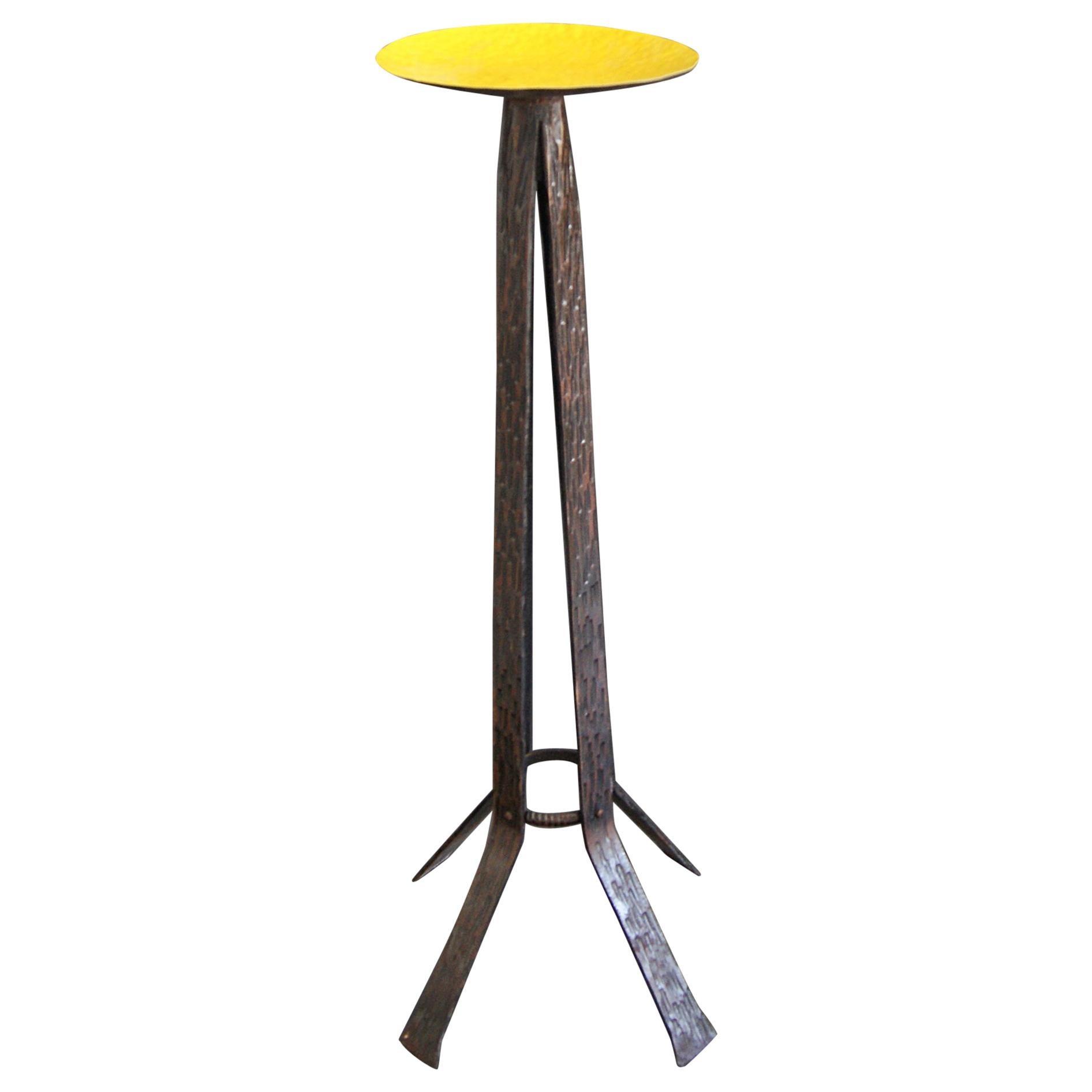 Midcentury Brutalist Candleholder Side Table, France, 1960s