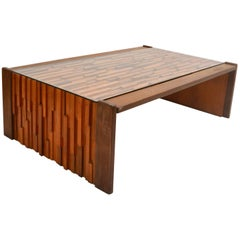 Midcentury Brutalist Coffee Table, Brazilian Hardwood Relief by Percival Lafer