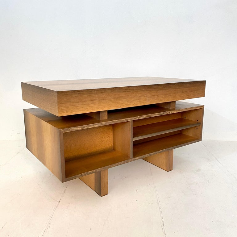 Mid Century Brutalist Desk in Bog Oak and Mahogany, around 1970s For Sale 9