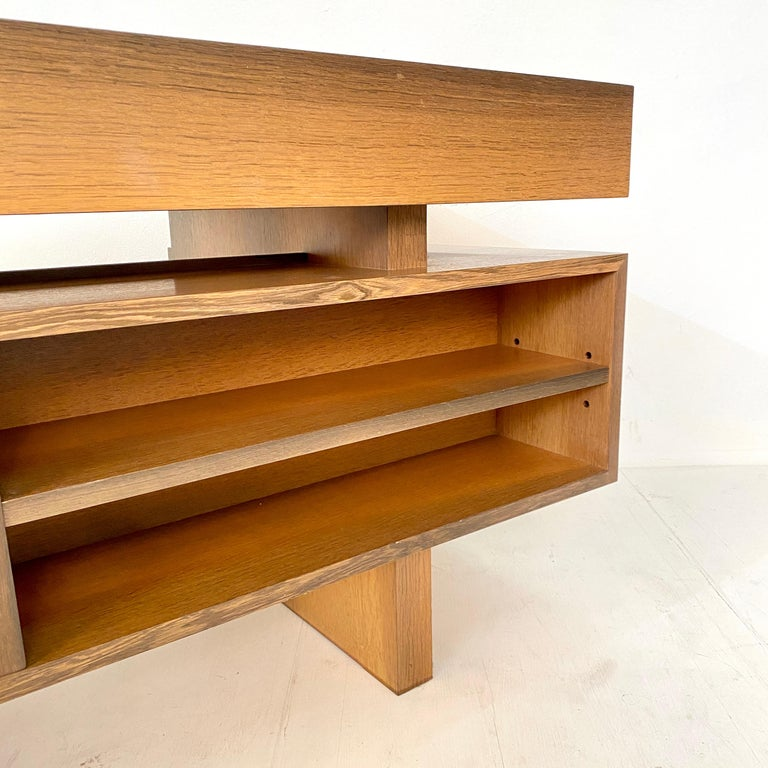 Mid Century Brutalist Desk in Bog Oak and Mahogany, around 1970s For Sale 11