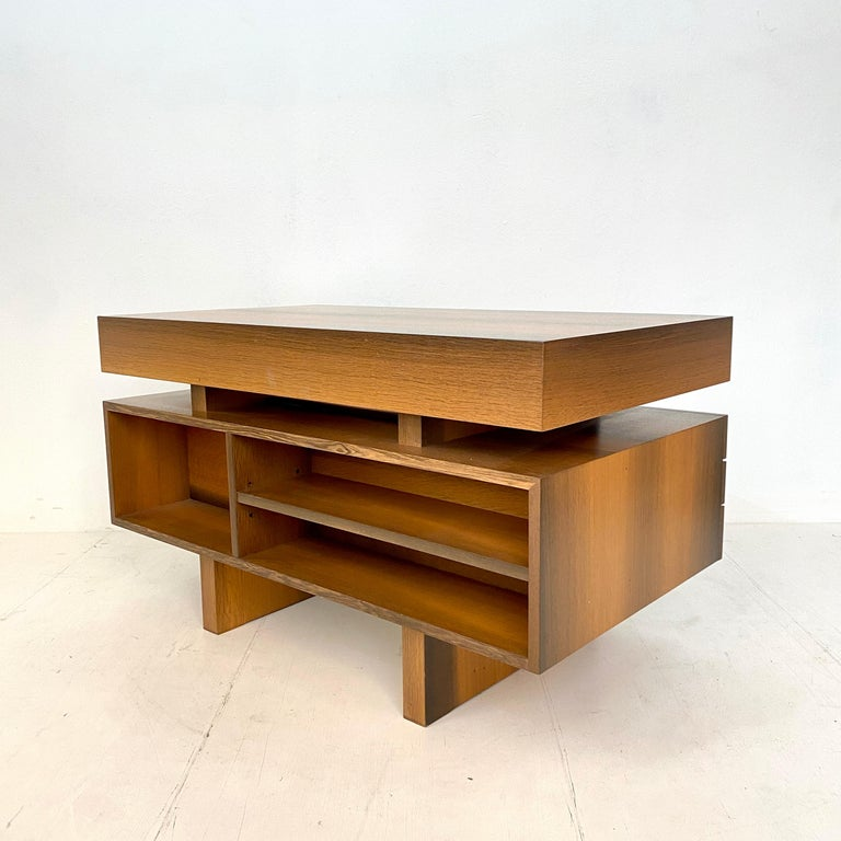 Mid Century Brutalist Desk in Bog Oak and Mahogany, around 1970s For Sale 12